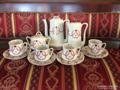 Antik régi szecessziós teás készlet, szett, csésze