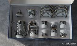 Szász Endre Hollóházi porcelán kávéskészlet 6 személyes
