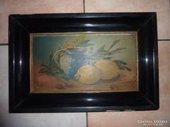 Csendélet kék kancsóval és citrommal, régi olaj-farost