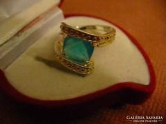 Szép kék köves ezüstözött gyűrű
