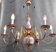 Nagyméretű  Vintage réz porcelán  flamand csillár