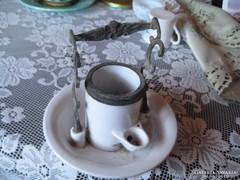 Judaika ? kegytárgy  porcelánból  és rézből