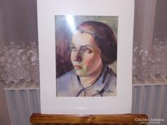 Regdon Irén - Női portré akvarell