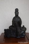 Fo kutyán ülő Kuan (Kwan) Yin szobor. Jelzett!