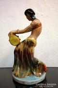 Art deco kerámia táncosnő - Komlós Kerámia