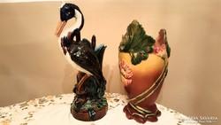 Szecessziós majolika váza és virágtartó gólyával