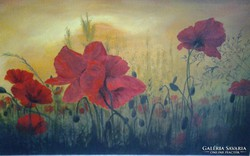 Pipacsos mező c. festmény , tájkép