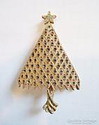 Karácsonyfa alakú régi aranyozott bizsu bross