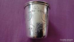 Vastagon ezüstözött antik keresztelő pohár