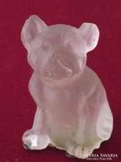 Lalique jellegű opálüveg francia bulldog miniatúra
