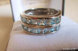 Gyönyörű régi akvamarinköves  ezüstgyűrű
