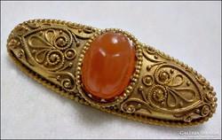 Pazar 14 k. skarabeusz karneol köves  antik arany bross