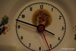 Hollóházi porcelán rókás óra 20,5 cm