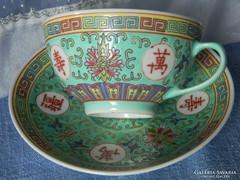 Rose Famille keleti porcelán, teás szett, csésze kistányér