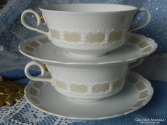 Antik porcelán, leveses csésze 2 fő részére, kistányérral
