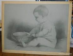 Biedermeier baba grafika - jelzett A. Czeloth 58 cm * 43,5cm