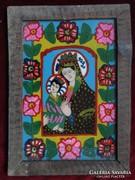 Mária a kisdeddel -erdélyi festett ikon (üveg)!