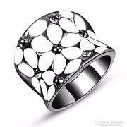 Fekete gyűrű fehér virág mintával 7,5-ös méret ÚJ!