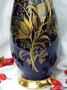 Vintage, Royal porcelán váza, cobalt, arany