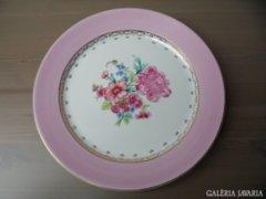 Rózsaszín arany virágos porcelántál tálaló 28cm