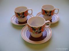Hollóházi retró kávéscsészék 3 db kiváló állapotban !