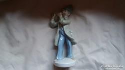 Ritka:Eichwald furulyás porcelán figura