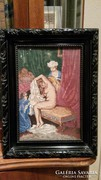 Ritka antik női akt gobelin gyönyörű bieder keretben 37*28 c