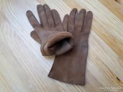 7-es méretű női barna színű vastag  bőrkesztyű