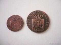 1 és 3 Pfennig Münze