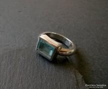 Egyszerű de szép! - Kék köves ezüst gyűrű - letisztult vonal