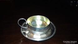 Ezüst art deco kávés csésze aljjal