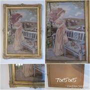 Goblein - Nő teraszon antik blondel keretben