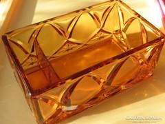 Nagy art deco borostyán üveg doboz