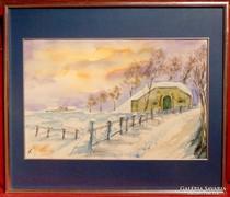 Tél - gyönyörű akvarell munka 1998 - ból