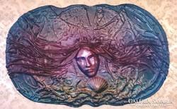 Bőrkép Női portré szignózott Zajácz Tamás 100x70 cm