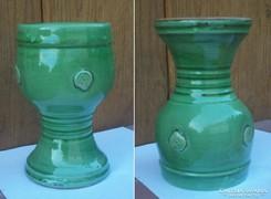 Iparművész többfunkciós zöld mázas posztamens váza