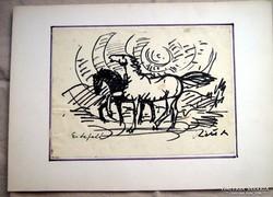 Réti Mátyás egyedi grafikája, tus, 70-es évek, szignózott