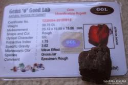 Gránát rög GGL eredet igazolással Mozambikból