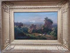 Ifj. Marko Károly olaj vászon római tájkép 1860-ból