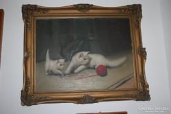 Boleradszky Benő - Cicák -, olajfestmény - eredeti