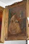 Levelet olvasó fiatal hölgy a szalonban - olajfestmény 19.sz