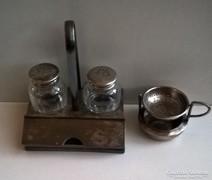 Antik só bors szóró vastagon ezüstözött  alpakka tartóban