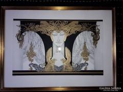 Szász Endre 35 x 57 cm-es, ritka nagyméretű szitanyomat