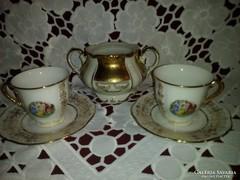 Porcelán kávéscsésze szett, csésze és cukortartó