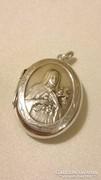 Régi ezüst antik Szűz Mária medál, nyitható