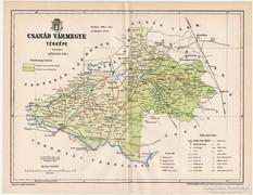 Csanád vármegye térkép 1896, eredeti, antik