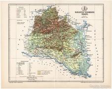 Baranya vármegye térkép 1895, eredeti, antik