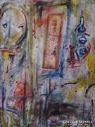 Vasanits Zoltán absztrakt festménye zsákvászonra