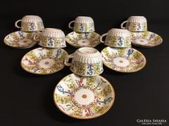 Antik Herendi Fischer Mór Óriás Siang Jaune csészék 1870-ből