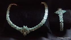 Zambiai Smaragd ezüst ékszer szett 88.70 gr.Ajándékozható
